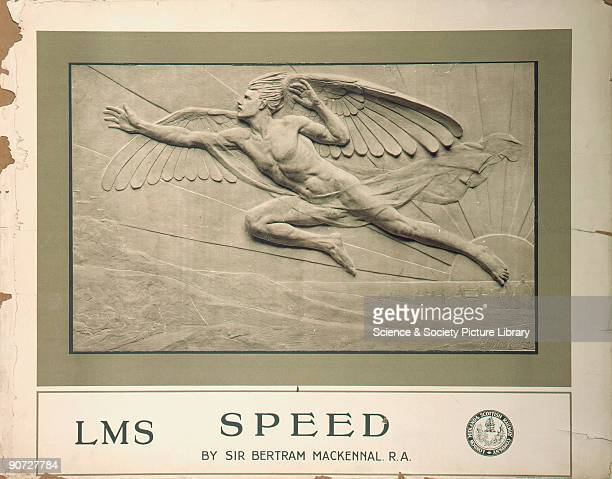 Poster produced for the London Midland Scottish Railway showing a relief sculpture of a flying winged man by the sculptor Sir Bertram MacKennal Born...
