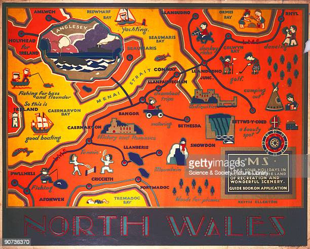 Poster produced for the London Midland Scottish Railway to advertise the North Wales railway route showing a detailed recreational map of all the...