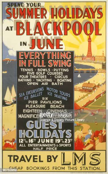 Poster produced for the London Midland Scottish Railway to promote rail travel to Blackpool Lancashire The central text box details the amusements...