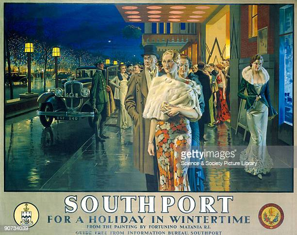 Poster produced for the London, Midland & Scottish Railway to promote winter travel to Southport, Merseyside. The poster is illustrated with a...
