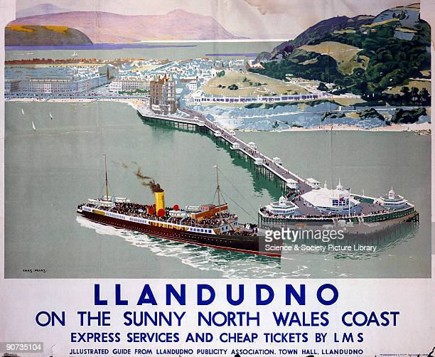 Poster produced for the London Midland Scottish Railway to promote rail travel to Llandudno North Wales The poster shows a panoramic view of the...