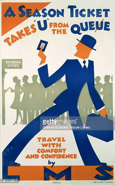 Poster produced for the London Midland Scottish Railway to promote the advantages of season tickets The poster shows an illustration of a man with a...