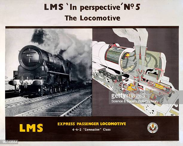 Poster produced for the London Midland Scottish Railway with a cutaway illustration showing the innards of the Coronation Class express passenger...