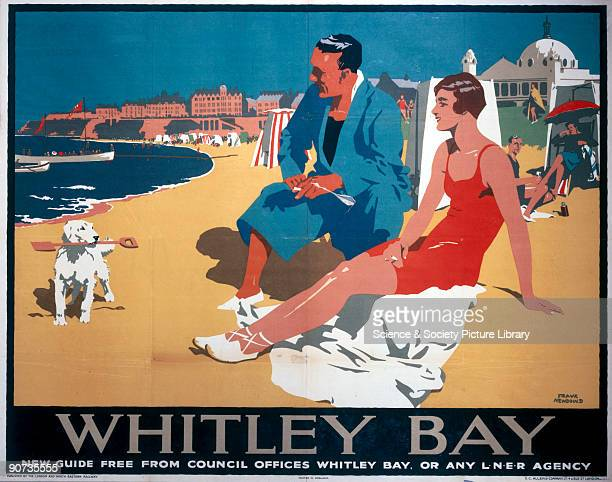 Poster produced for the London & North Eastern Railway , promoting rail travel to the popular seaside resort of Whitley Bay, Tyne and Wear, showing a...