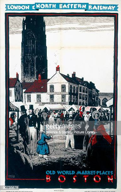 Poster produced for the London North Eastern Railway promoting rail travel to the Lincolnshire town of Boston showing the town's market square in...