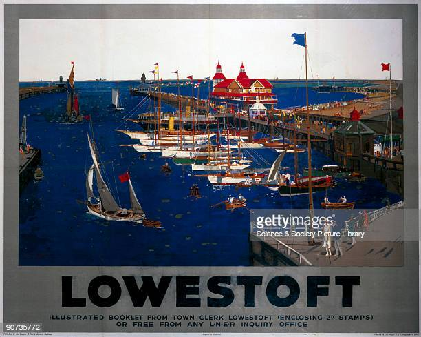 Poster produced for the London North Eastern Railway promoting rail travel to the Suffolk resort of Lowestoft showing a view of visitors strolling on...