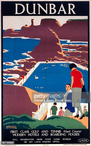 Poster produced for the London North Eastern Railway promoting rail travel to the Scottish resort of Dunbar showing holidaymakers swimming in an...