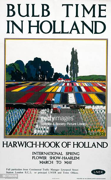 Poster produced for the London North Eastern Railway promoting rail travel via Harwich to the Hook of Holland for the international spring flower...