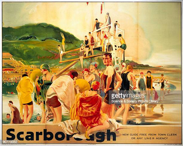 Poster produced for the London North Eastern Railway promoting rail travel to the Yorkshire seaside resort of Scarborough showing male and female...