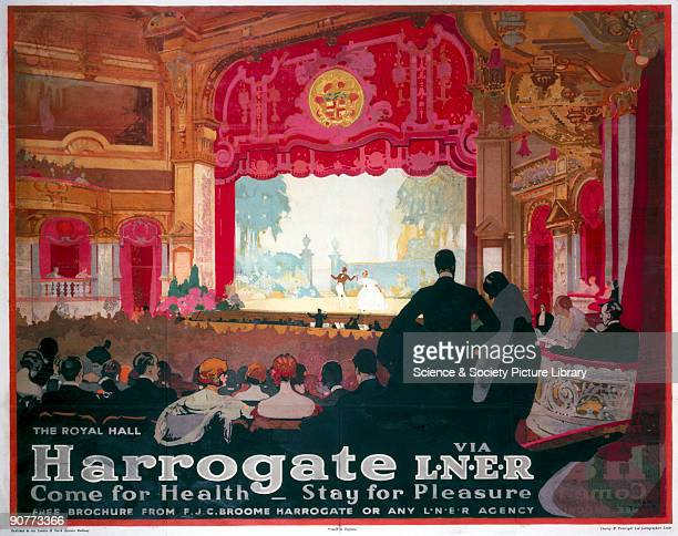 Poster produced for the London North Eastern Railway promoting rail travel to the spa town of Harrogate in Yorkshire showing theatregoers seated in...