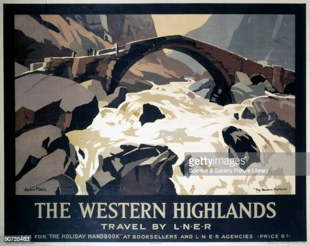 Poster produced for the London North Eastern Railway promoting the 'The Holiday Handbook' and illustrating a bridge over a rocky river Artwork by...