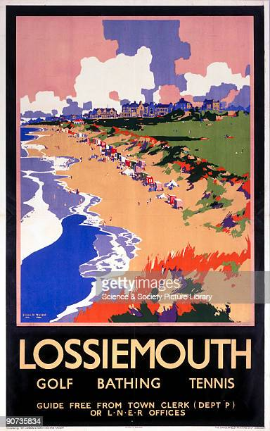 Poster produced for the London North Eastern Railway showing the beach at Lossiemouth with a golf course and buildings in the background People are...