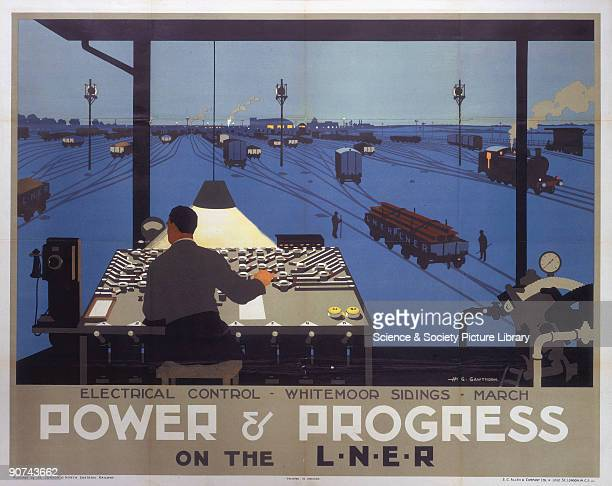 Poster produced for the London North Eastern Railway to advertise new technology on the company�s network The poster shows a worker sitting at an...