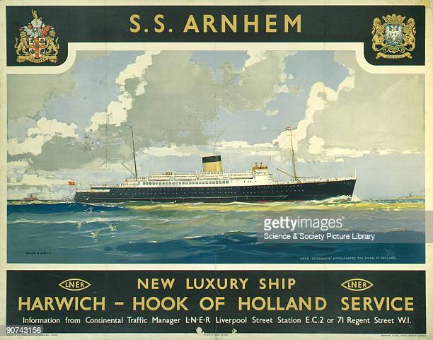 Poster produced for the London North Eastern Railway to promote its new luxury passenger ship the 'SS Arnhem' which operated on services from Harwich...