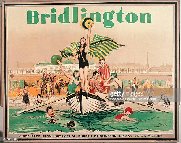 Poster produced for the London & North Eastern Railway to promote rail services to the Yorkshire coastal resort of Bridlington. The poster presents...