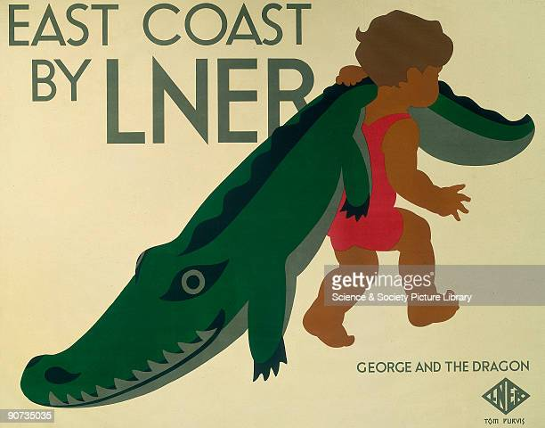 Poster produced for the London North Eastern Railway to promote rail services to the East Coast of England The poster shows a small child in a...