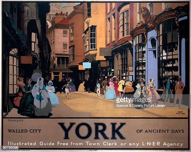 Poster produced for the London North Eastern Railway to promote rail travel to York Yorkshire The poster promotes the historic aspect of the city by...