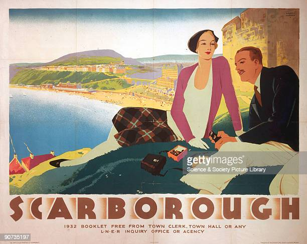Poster produced for the London North Eastern Railway to promote rail travel to the seaside resort of Scarborough North Yorkshire The poster shows a...