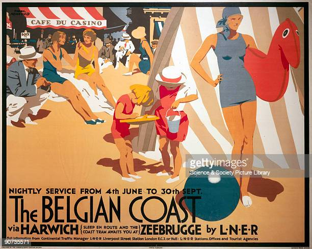 Poster produced for the London North Eastern Railway to promote rail and sea services to Belgium via the ports of Harwich and Zeebrugge The service...