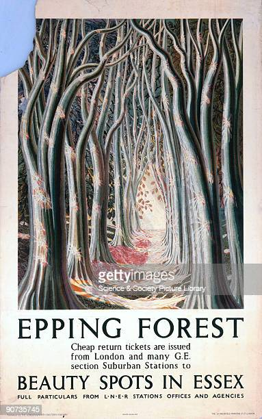 Poster produced for the London North Eastern Railway to promote rail travel to the beauty spots of Essex showing a view through the trees of Epping...