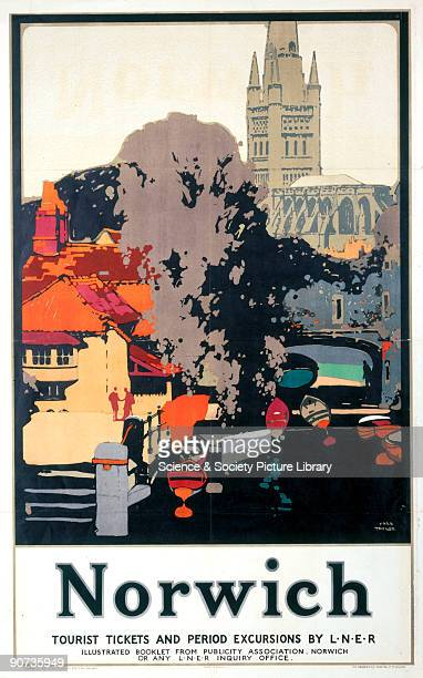 Poster produced for the London North Eastern Railway to promote rail travel to Norwich Norfolk The poster shows a view of the cathedral city with a...