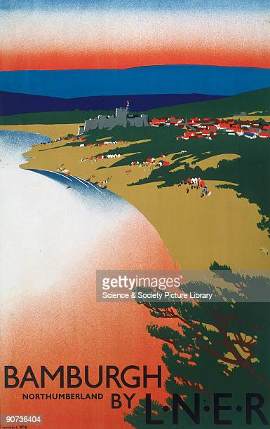 Poster produced for the London North Eastern Railway to promote rail travel to the coastal resort of Bamburgh Northumberland The poster shows a...