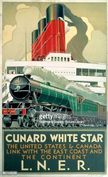 Poster produced for the London North Eastern Railway to promote connecting rail and sea services between North America England and the Continent on...
