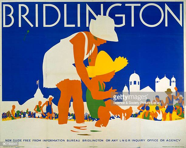 Poster produced for the London North Eastern Railway to promote the Yorkshire coastal resort of Bridlington showing two children in the sea Artwork...