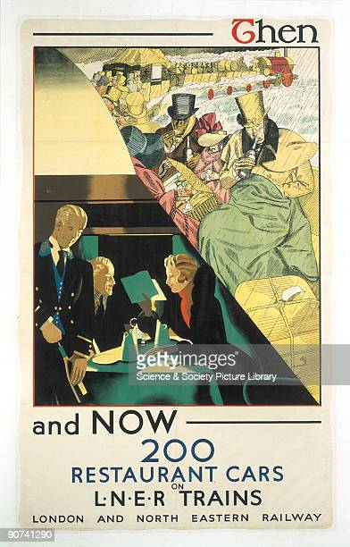 Poster produced for the London North Eastern Railway to promote the 200 restaurant cars on the company�s trains The poster is split into two images...