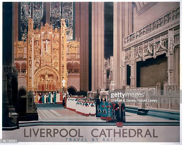 Poster produced for the London North Eastern Railway to promoting rail travel to the city of Liverpool showing an interior view of Liverpool...