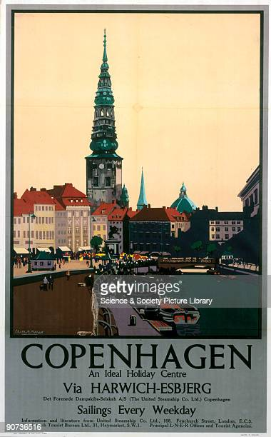 Poster produced for the London North Eastern Railway United Steamship Co Ltd and Danish Tourist Bureau showing a view of one of Copenhagen's squares...