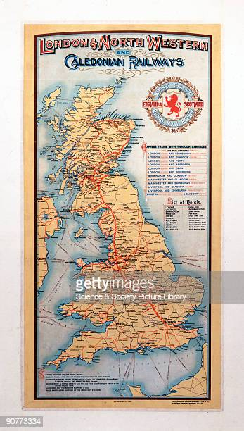 Poster produced for the London North Western Railway and Caledonian Railway showing a map of Great Britain indicating the West Coast Royal Mail Route...
