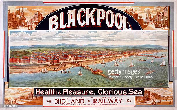 Poster produced for the Midland Railway advertising train services to the resort of Blackpool Lancashire The poster shows a bird�s eye view of the...