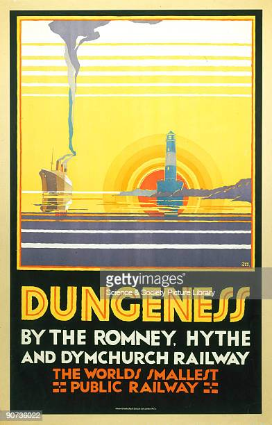Poster produced for the Romney Hythe and Dymchurch Railway to promote rail services to Dungeness The poster shows a view of a steamership passing a...