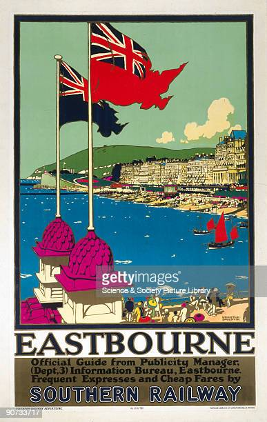 Poster produced for the Southern Railway advertising express services and cheap fares to the Sussex coastal resort of Eastbourne The image shows the...