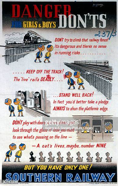 Poster produced for the Southern Railway advising children of the dangers associated with trains and railway lines showing two cartoon children in...