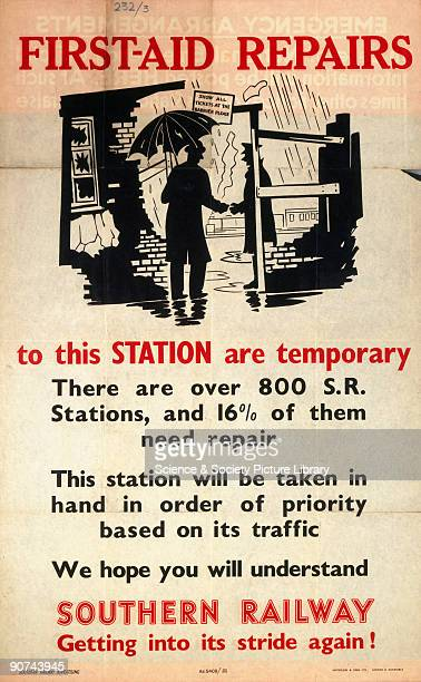 Poster produced for the Southern Railway to inform passengers that repair work to their station will be carried out soon illustrated with an image of...