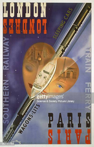 Poster produced for the Southern Railway to promote services between London and Paris on train ferries with sleeping cars The poster is illustrated...