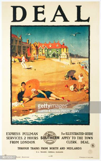 Poster produced for the Southern Railways to advertise the Express Pullman service to the seaside resort of Deal on the Kent coastline and...