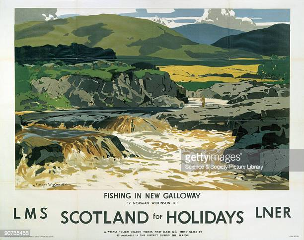 Poster produced jointly by London Midland Scottish Railway and London North Eastern Railway to promote rail travel to Scotland The poster shows a...