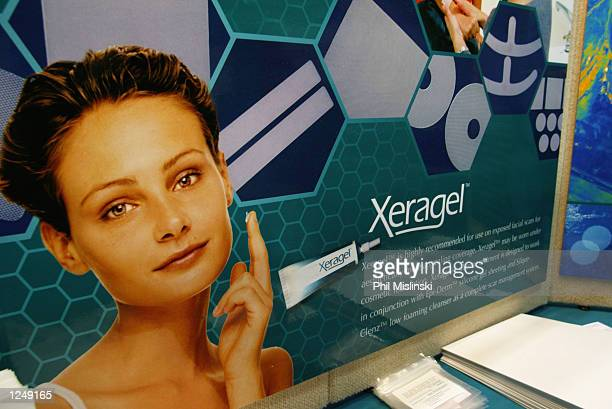 A poster promotes the facial scar cream Xeragel in the Biodermis booth at the National Medical Association Annual Convention at the Hawaii Convention...