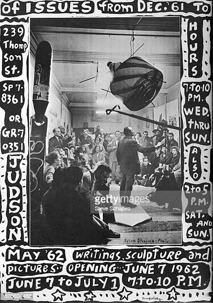 A poster promoting a show of art happenings at the Judson Church Poster designed by Phyllis Yampolsky with photo by Steve Schapiro