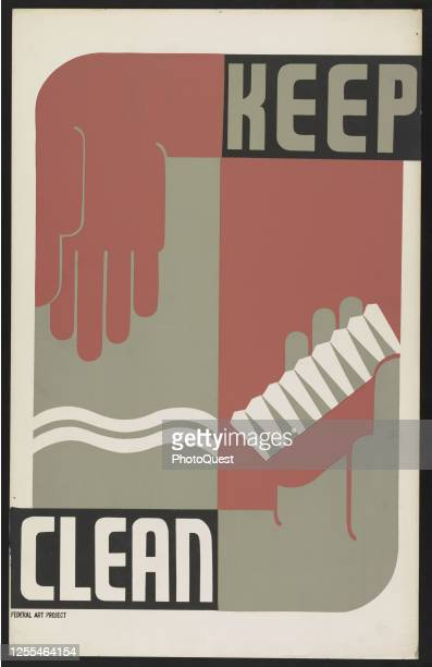 Poster promoting cleanliness through hand-washing and tooth brushing, Rochester, New York, January 1939.