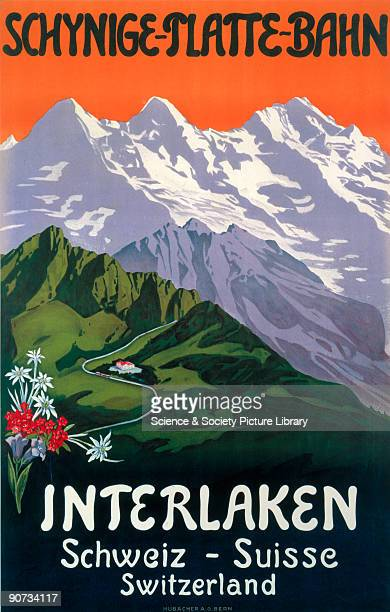 Poster promoting rail travel to Interlaken with alpine flowers and a view of mountains with a winding road