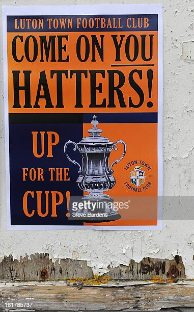A poster promoting the FA Cup with Budweiser Fifth Round Match between Luton Town and Millwall FC at Kenilworth Road on February 16 2013 in Luton...