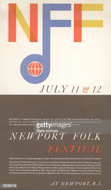 Poster promoting the first Newport Folk Festival in Newport Rhode Island July 1112 1959