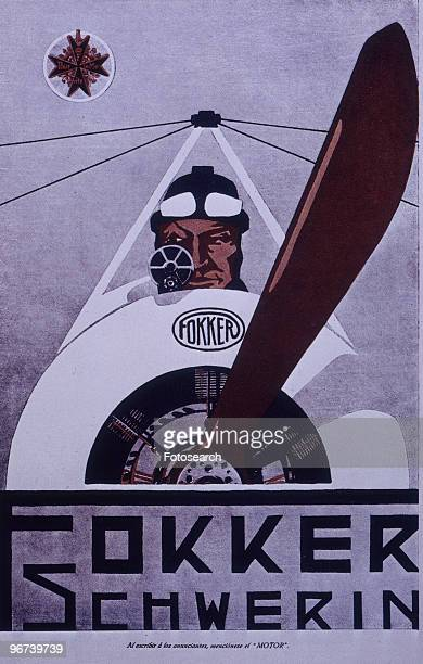 Poster promoting the Fokker aircraft company based in Schwerin Germany circa 1916