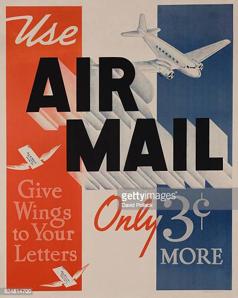 poster promoting the speed of delivery using Air Mail for only 3 cents more than surface mail ca 1950s