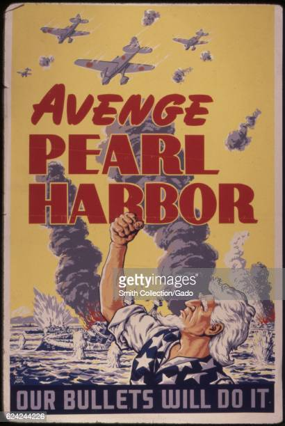 A poster promoting the vengeance of the Japanese attacks on Pearl Harbor Hawaii with text reading Avenge Pearl Harbor 1942