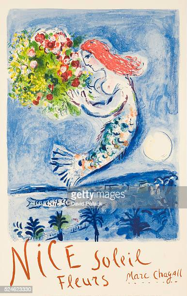 1961 poster published by the French Government printed by Mourlot Paris Illustrated by Marc Chagall mermaid holding bouquet of flowers floating above...